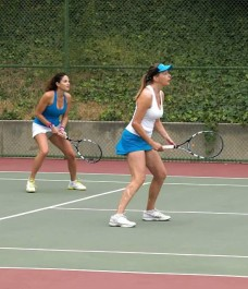 In action on the courts.