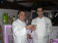 Chef Jean Georges Vongerichten and son Cedric toast to kick off the Taste of St Barth 2014 at opening ceremony party at Do Brazil.