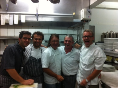 Having a blast in the kitchen at Le Sereno with chefs Mathieu, Thomas, Gregory, Didier and Laurent.