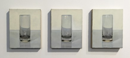 """Artist Peter Dreher painted the same glass everyday for almost 40 years for his series Day by Day Good Day"""" at Galerie Wagner + Partner at Pulse"""