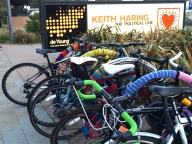 Yarn bombing and bikes outside the de Young.
