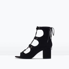 Lace Up Block-Heeled Sandals 79.99 at Zara