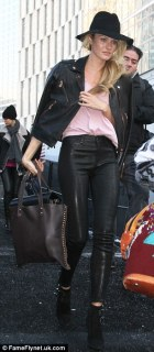 Candace Swanepoel in a sweet cropped leather jacket