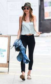 Behati Prinsloo in J Brand high-waisted jeans