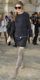 Olivia in a Zara plaid dress and Stuart Weitzman thigh-high boots