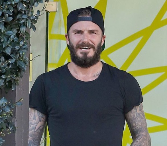 Bearded and tatted David Beckham
