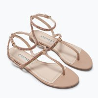 Jewel Flat Sandal 79.90 at Zara