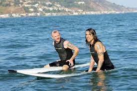 Rockers who surf, Flea and Anthony Keidis of the Red Hot Chili Peppers waiting for waves.