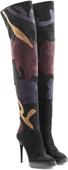 Burberry Prorsum Suede-Over--Knee Patchwork Boots