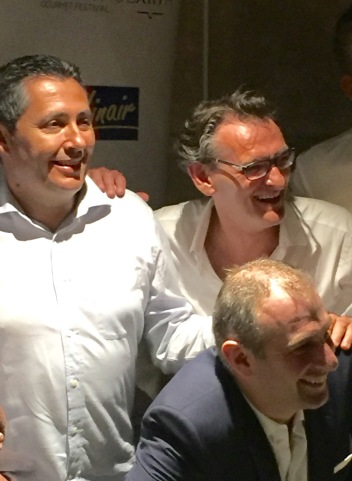 Returning chef Jerome Nutile, with Laurant Jeannin and Yoann Conte