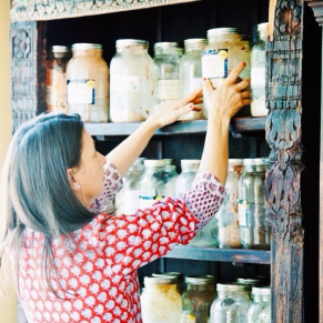 Martha and her wall of herbs
