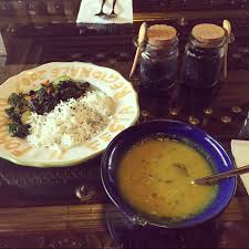 A tasty lunch of rice and dahl.
