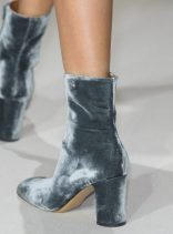 Stepping' out in these gray velvet numbers by Valentino.