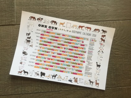 Biodynamic farming calendar complete with a border of rescued ranch animals